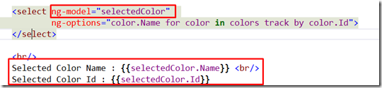 How to get dropdown list or select list selected value and selected text in angularJS asp.net mvc